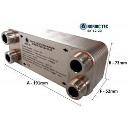 """Plate Heat Exchanger NORDIC Ba-12-20 3/4"""" 45kW"""