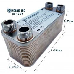 """Plate Heat Exchanger NORDIC Ba-12-30 3/4"""" 65kW"""