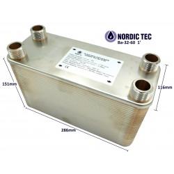 """Plate Heat Exchanger NORDIC Ba-32-60 1"""" 330kW"""