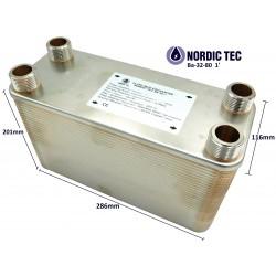 """Plate Heat Exchanger NORDIC Ba-32-80 1"""" 450kW"""