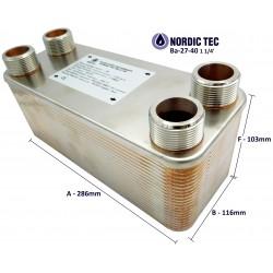 """Plate Heat Exchanger NORDIC Ba-27-40 1 1/4"""" 230kW"""